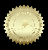 Gold star label with map of Alaska — Stock vektor