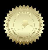 золотая звезда этикетка с карта аляска — Cтоковый вектор
