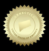 Gold star label with map of Connecticut — Stock Vector