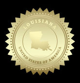 Gold star label with map of Louisiana — Stock Vector