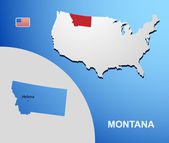 Montana on USA map with map of the state — Stock Vector