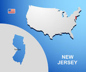 New Jersey on USA map with map of the state — Stock Vector