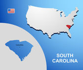South Carolina on USA map with map of the state — Stock Vector