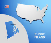 Rhode Island on USA map with map of the state — Stock Vector