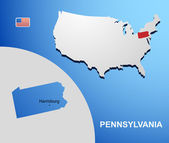 Pennsylvania on USA map with map of the state — Stock Vector