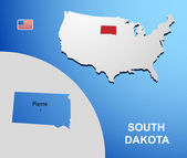 South Dakota on USA map with map of the state — Stock Vector