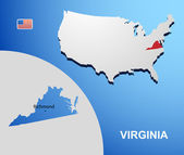 Virginia on USA map with map of the state — Stock Vector