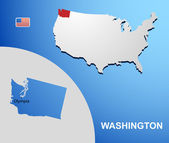 Washington on USA map with map of the state — Stock Vector