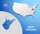 West Virginia on USA map with map of the state — Stock Vector