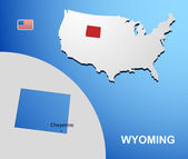 Wyoming on USA map with map of the state — Stock Vector