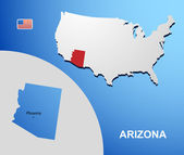 Arizona on USA map with map of the state — Stock Vector