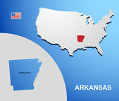 Arkansas on USA map with map of the state — Stock Vector