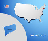 Connecticut on USA map with map of the state — Stock Vector