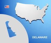 Delaware on USA map with map of the state — Stock Vector