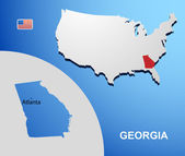 Georgia on USA map with map of the state — Stock Vector