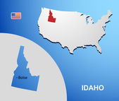 Idaho on USA map with map of the state — Stock Vector