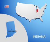 Indiana on USA map with map of the state — Stock Vector