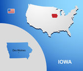 Iowa on USA map with map of the state — 图库矢量图片