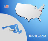Maryland on USA map with map of the state — Stock Vector