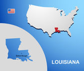 Louisiana on USA map with map of the state — Stock Vector