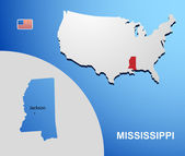 Mississippi on USA map with map of the state — Stock Vector