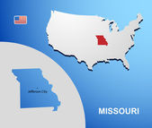 Missouri on USA map with map of the state — Stock Vector