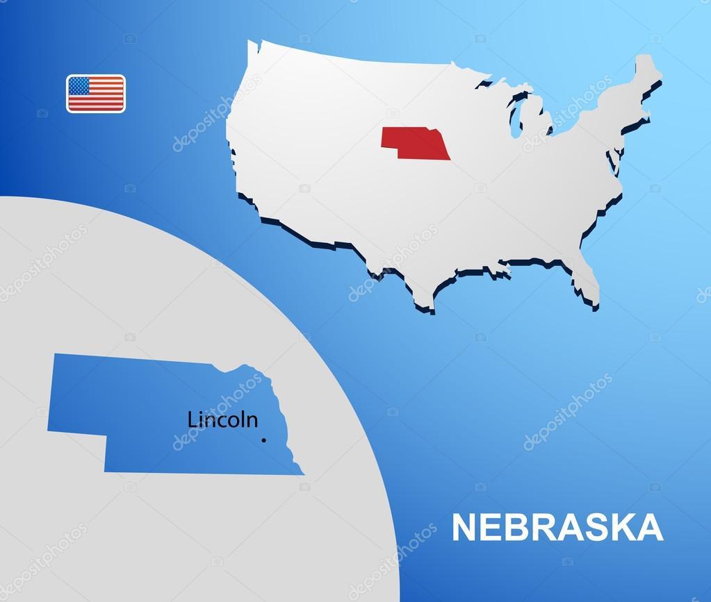 Nebraska State Maps USA Maps Of Nebraska NE Vector Color Map Of - Nebraska on us map