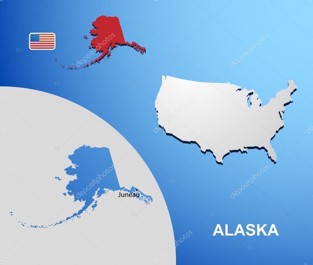 阿拉斯加美国地图与地图上的国家