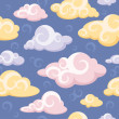 Abstract seamless pattern with clouds — Stock Vector