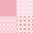Set of cute seamless patterns — 图库矢量图片