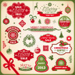 Christmas and new year decoration elements — Stock vektor
