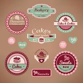 Alte bäckerei-etiketten — Stockvektor