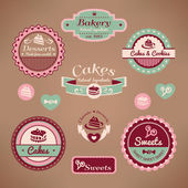 Set of vintage bakery labels — ストックベクタ