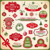 Noel ve yılbaşı süsleme elemanları — Stok Vektör
