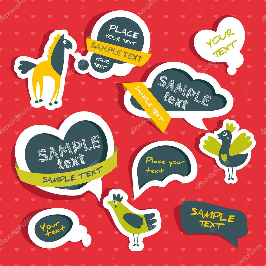 Set of speech bubbles with cute birds and horse — Stock Vector #13953445
