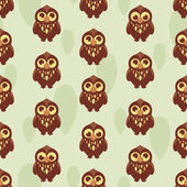 Cute seamless pattern with owl — Stock Vector