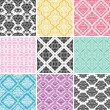 Set of seamless damask backgrounds. - Stock Vector