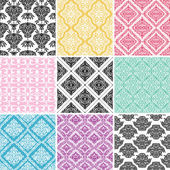 Set of seamless damask backgrounds. — Stock Vector