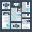 Set of classic wedding cards — Stock Vector