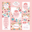 Stok Vektör: Set of floral wedding cards