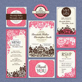Set of floral wedding cards — Stock Vector