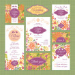 Set of wedding cards — Imagen vectorial