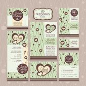 Conjunto de cartões de casamento — Vetorial Stock
