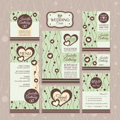 Set of wedding cards — Stock vektor