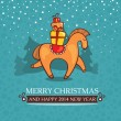 Christmas cute baby card with horse and gifts — Stock Vector