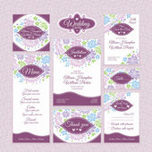 Set of floral wedding cards — Cтоковый вектор