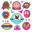 Set of peace symbols and labels — Cтоковый вектор #30011263