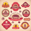 Set of vector vintage various bakery labels — Stockvektor