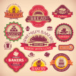Set of vector vintage various bakery labels — Stock Vector #30011281
