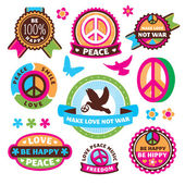 Set of peace symbols and labels — Stock Vector